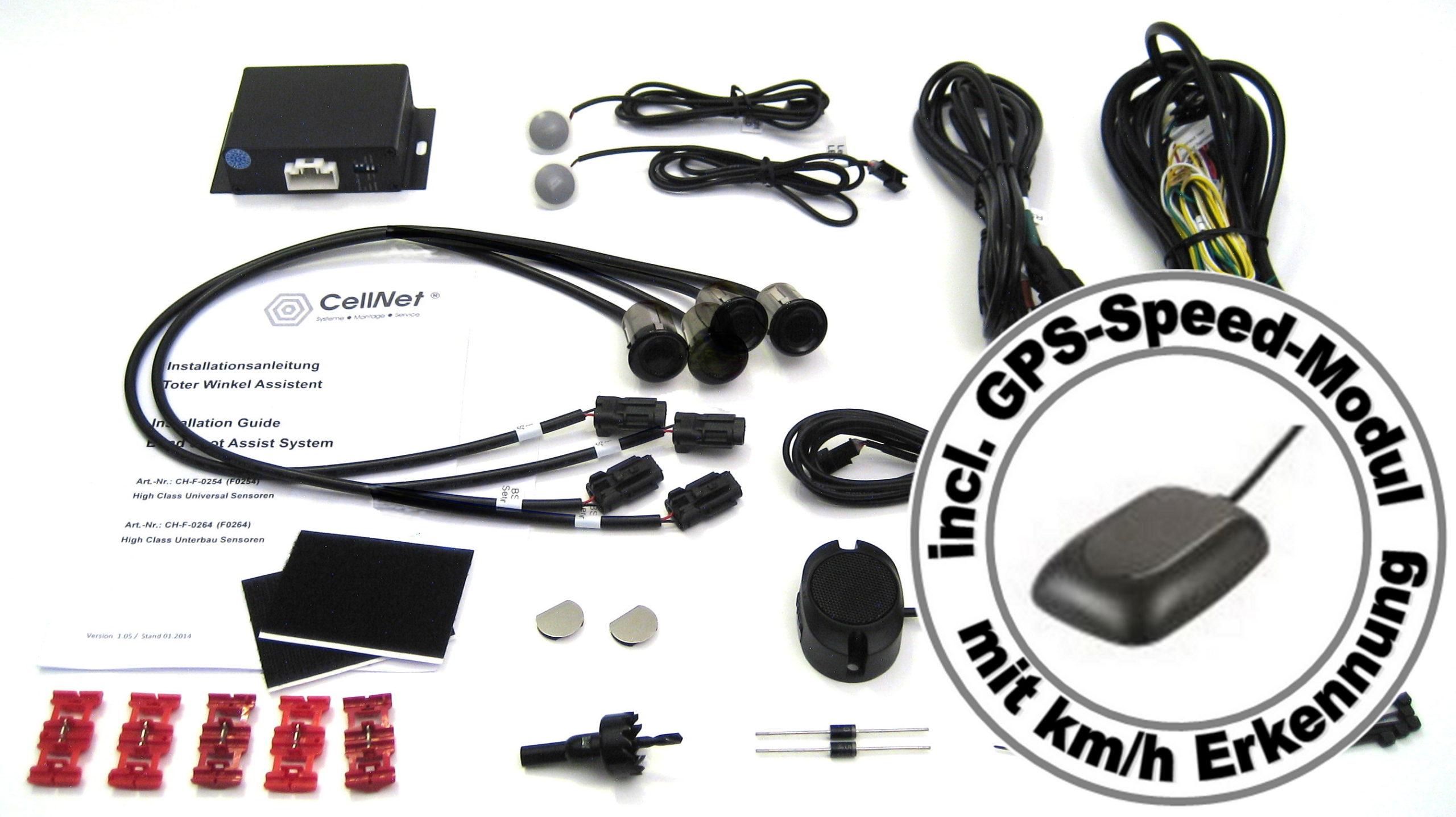 Toter-Winkel-Assistent mit 4 x Universal-High-Class-Sensoren incl. GPS-Speed-Modul-991