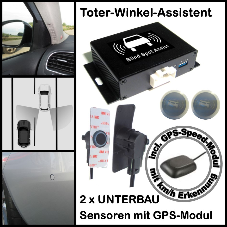 Toter-Winkel-Assistent mit 2 x High Class UNTERBAU Sensoren incl. GPS-Speed-Modul-0